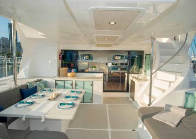Royal Charters, Majestic 570 Fly Catamaran, Barefeet Retreat cockpit