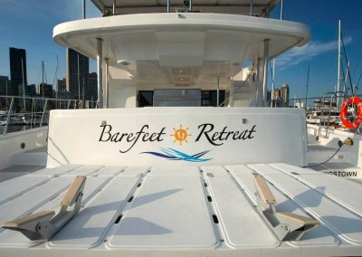 Royal Charters, Majestic 570 Fly Catamaran, Barefeet Retreat, Tender Lift